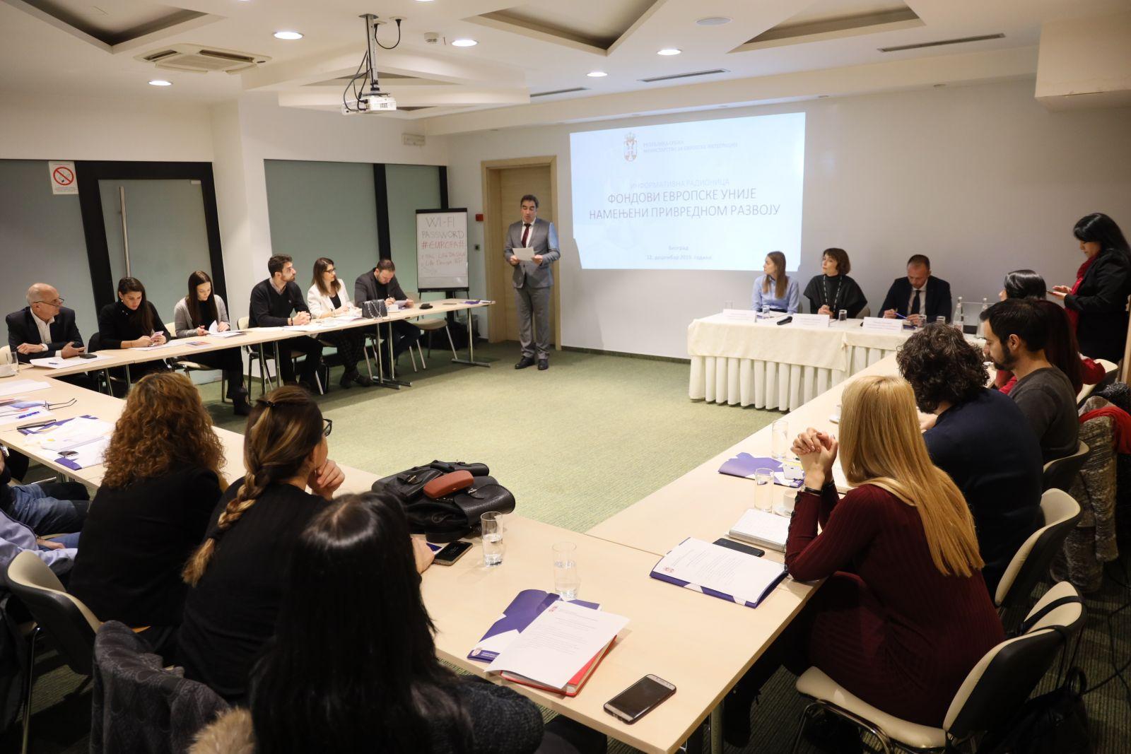 Info Workshop EU FUNDS INTENDED FOR ECONOMIC DEVELOPMENT
