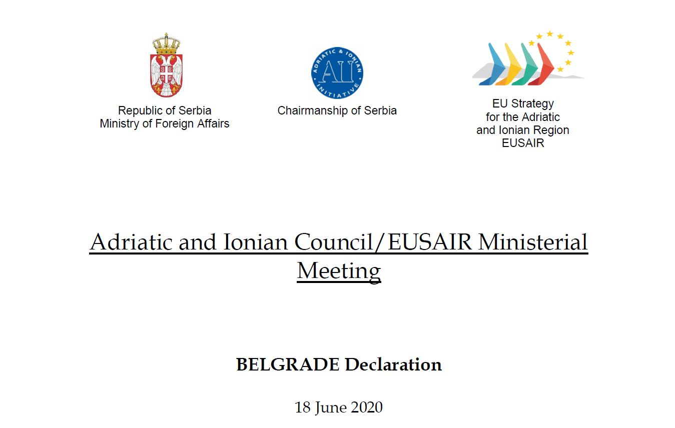 "Serbia's Chairmanship of EU Strategy for the Adriatic and Ionian Region concluded with the adoption of the ""Belgrade Declaration"""