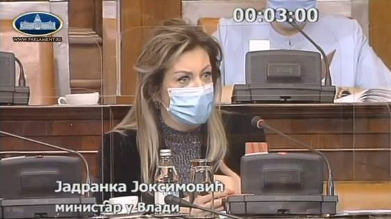 "J. Joksimović: I am not a character from Nušić's play to be addressed as ""Mrs Minister"""