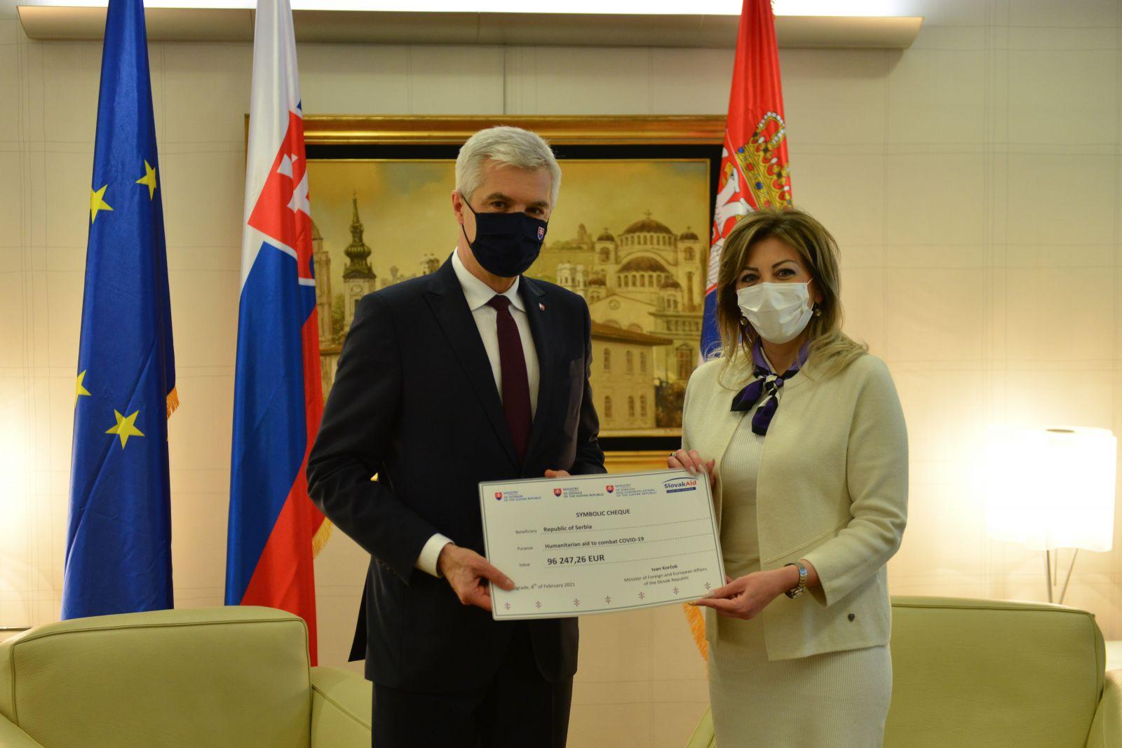 J. Joksimović i I. Korčok: Slovačka donacija za borbu protiv kovida gest prijateljstva