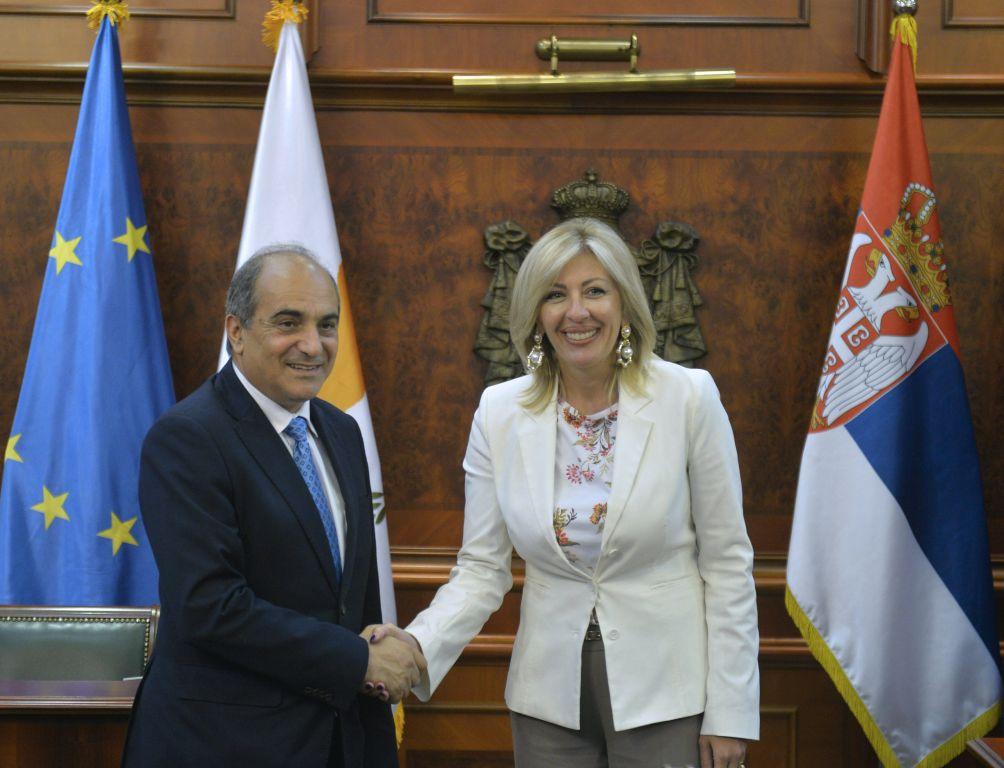 Ј. Јоксимовић и Силурис: Конкретна сарадња Србије и Кипра у европским интеграцијама