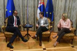 Meeting of the Ambassador of the EU to Serbia Sem Fabrizi with the Prime Minister of the Republic of Serbia Ana Brnabić and the Minister of European Integration Jadranka Joksimović
