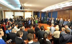 Министар за европске интеграције Јадранка Јоксимовић на годишњем пријему за директоре и уреднике медија, који је поводом божићних и новогодишњих празника одржан у Влади Србије