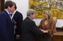 Minister of European Integration Jadranka Joksimović at the meeting with the President of the Republic of Serbia Aleksandar Vučić and the Chair of the EU–Serbia Stabilisation and Association Parliamentary Committee Eduard Kukan.