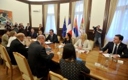 President of the Republic of Serbia Aleksandar Vučić and Minister of European Integration Jadranka Joksimović met with French Minister for Europe and Foreign Affairs, Jean-Claude Le Drian