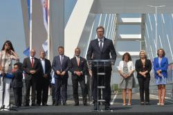 Министар за европске интеграције Јадранка Јоксимовић на свечаном отварању новог Жежељевог моста у Новом Саду