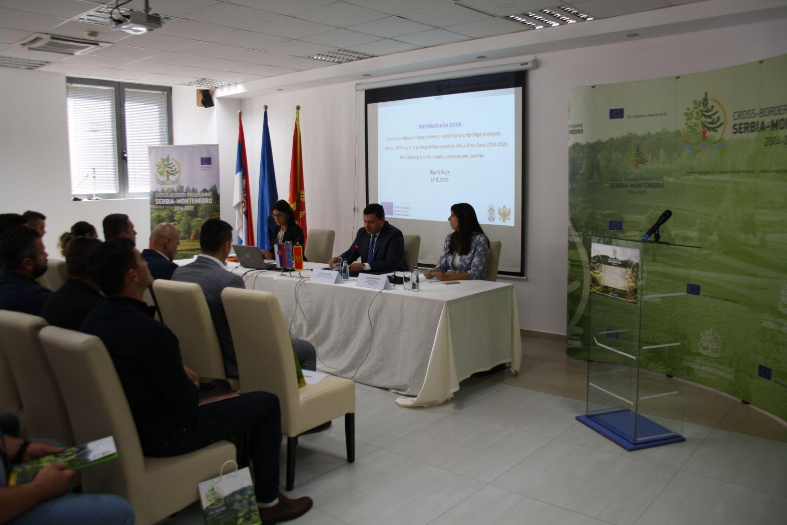 Одражана информативна сесија поводом расписивања Другог позива за подношење предлога пројеката оквиру ИПА Програма прекограничне сарадње Србија-Црна Гора 2014-2020