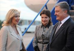 Министар за европске интеграције Јадранка Јоксимовић дочекала председника Украјине Петра Порошенка.