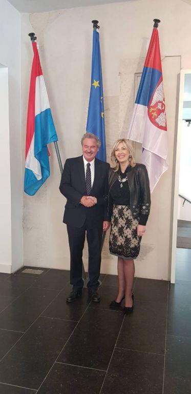 Ј. Јоксимовић: Подршка Луксембурга за напредак Србије