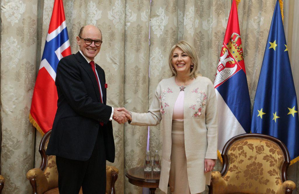 Ј. Јоксимовић и Бјорнстад: Норвешка конкретно помаже агенду одрживог развоја Србије