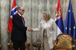 Министар за европске интеграције Јадранка Јоксимовић и амбасадор Норвешке Арне Бјорнстад
